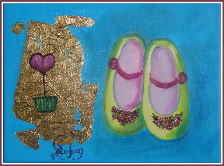 girl ballarina shoes, oil painting