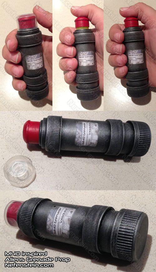 Aliens M40 inspired DIY grenade prop with cap and decal .. Vasquez FTW!