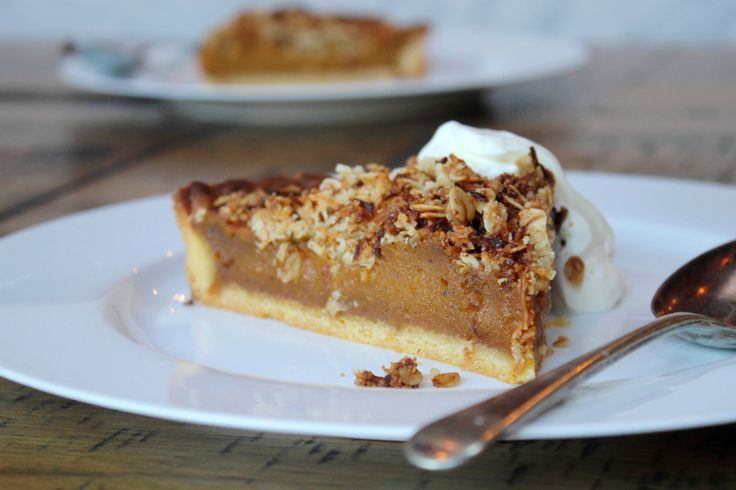 Decadent spiced pumpkin pie recipe with coconut crumb