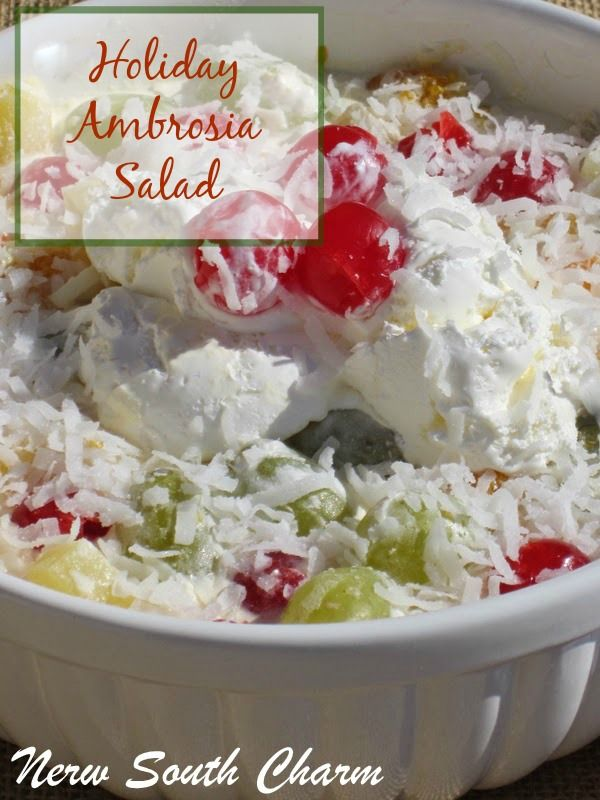 Holiday Ambrosia Salad - Ambrosia is a classic fruit salad topped with coconut and whipped cream.