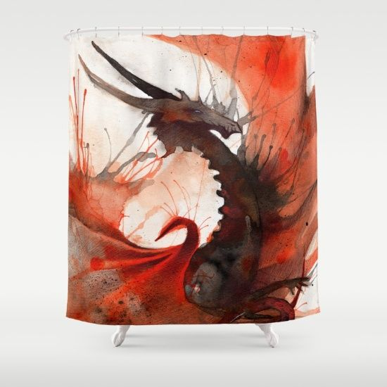 Ink Dragon Red Shower Curtain