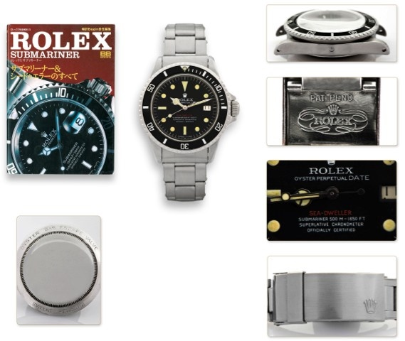 ROLEX REF 1665 – THE SINGLE RED PROTOTYPE – PATENT PENDING – 500M-1650FT – ONE OF SIX KNOWN Made in 1967. Fine and extremely rare rare, center seconds, self-winding, water-resistant, stainless steel diver's chronometer wristwatch with double red Sea-Dweller logo, helium escape valve, date and a stainless steel riveted Rolex Oyster Ref. 7206 bracelet with patent pending extension link.
