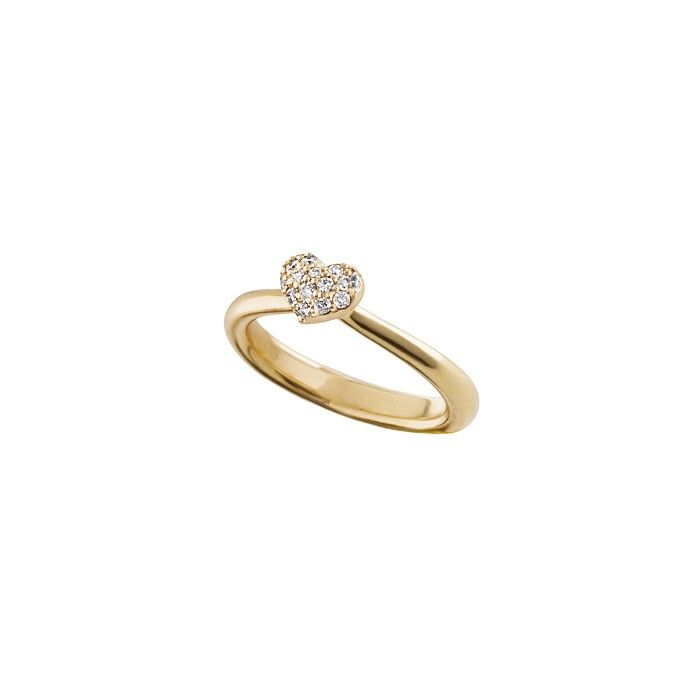 Heart ring in 18K yellow gold and diamonds TW.VS Stars & Hearts by OLE LYNGGAARD COPENHAGEN www.olelynggaard.com