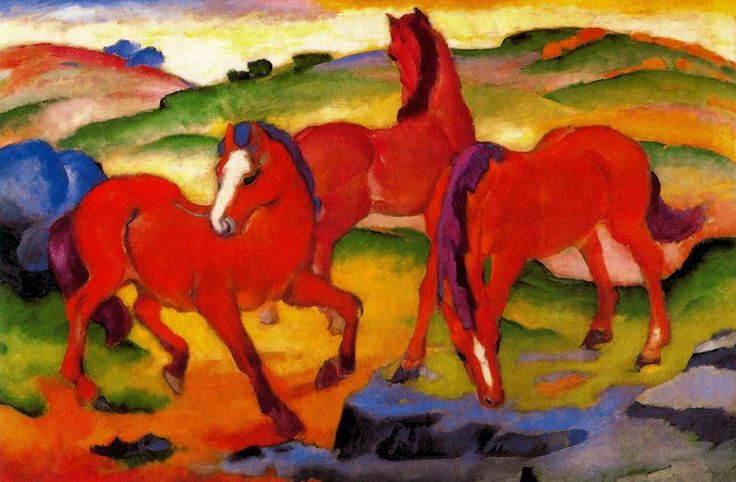 The Red Horses  c.1911 by Franz Marc