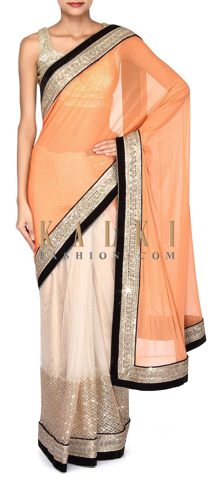 Buy Online from the link below. We ship worldwide (Free Shipping over US$100). Product SKU - 302908. Product Link - http://www.kalkifashion.com/half-and-half-saree-in-peach-and-cream-adorn-in-mirror-embroidered-border-only-on-kalki.html
