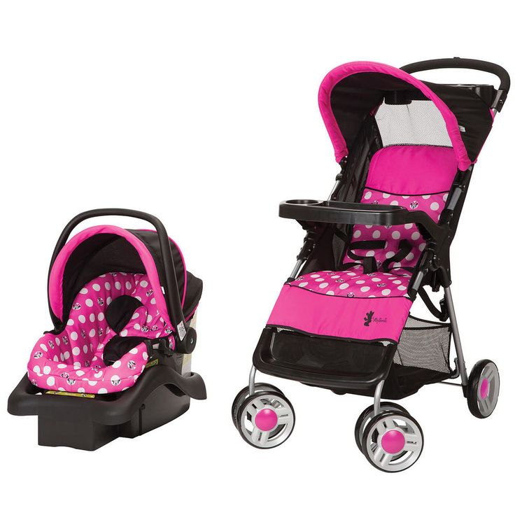 Baby Stroller Car Seat Travel System Set Infant Buggy Carriage Canopy Pink Dots