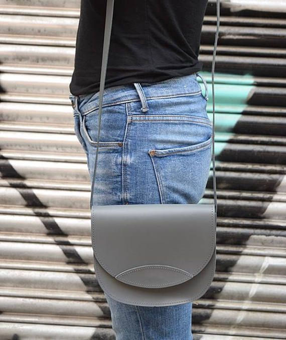 Gray Leather Bag  Handmade Leather Bag Leather Crossbody