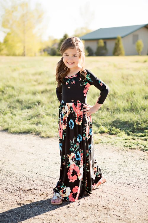 Black 3/4 Sleeve Floral Maxi, Dress, Maxi, Sleeve Dress, Floral Dress, Ryleigh Rue Clothing, online shopping, Online Boutique, Boutique, Fashion, Style, Cute, Kids Boutique
