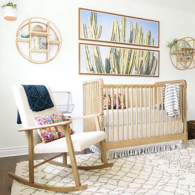 amazing neutral nursery by Kathryn Miller Interiors, cactus art, natural crib . Liapela.com