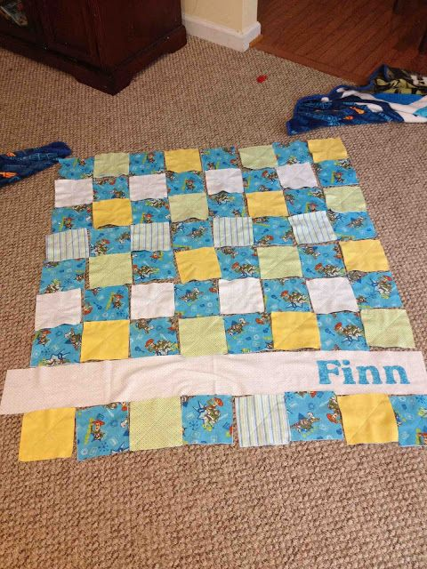 Cocoa Pie: Tutorial - Personalized Baby Boy Flannel Rag Quilt/Cuddle Blanket. Monday, June 10, 2013. I love the child's name in the quilt, even if it's not made of flannel.