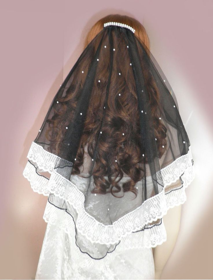 Black Fairytale Beach Wedding Veil White Lace Acrylic Pearls ~ Australian Made #EnchantedEmeraldForestDesignsAustralia
