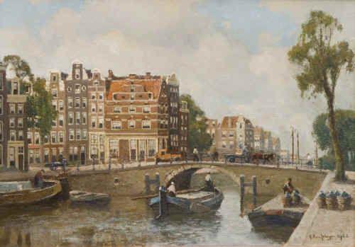 """Gerbrand Frederik van Schagen 1880 - 1968""""Brouwersgracht met de z.g.n. Spaanse huizen"""""""