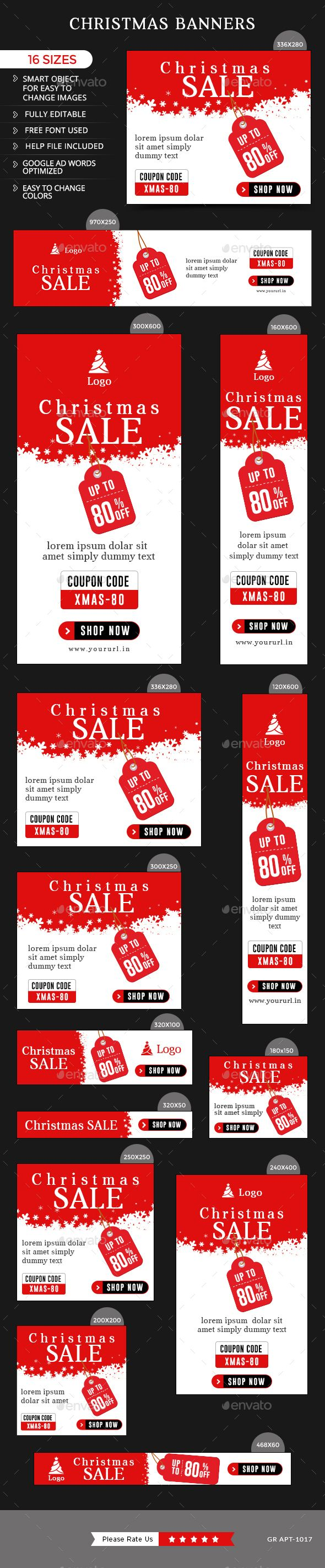 Christmas Banners — Photoshop PSD #studio #google adwords • Available here → https://graphicriver.net/item/christmas-banners/13976641?ref=pxcr