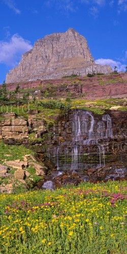 Mountain and Waterfall Panorama Glacier National Park, Montana