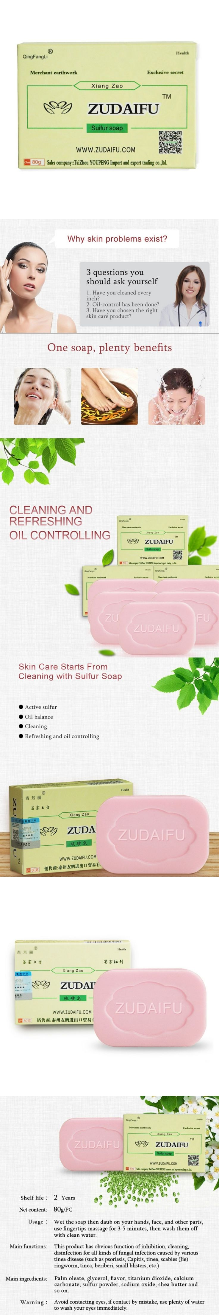 80g Sulfur Soap Skin Conditions Acne Psoriasis Seborrhea Eczema Anti Fungus Bath Healthy Body Soaps