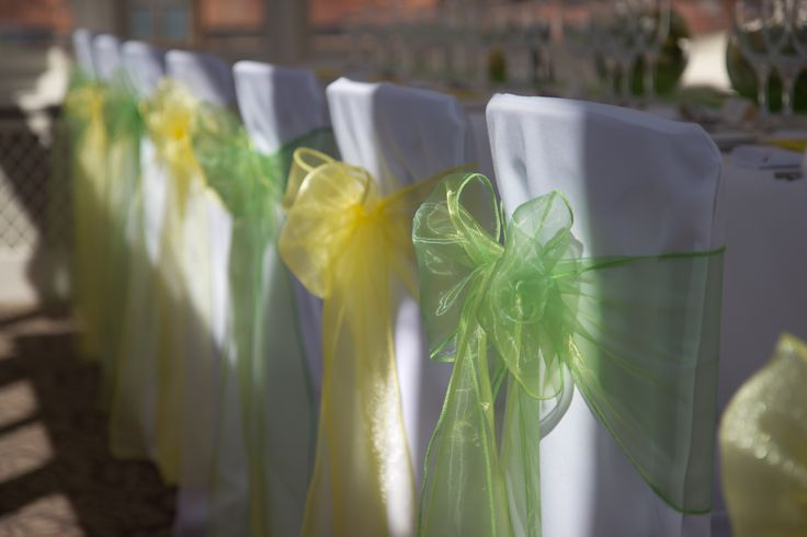 Stunning lime green and yellow organza sashes on a beautiful spring day!!