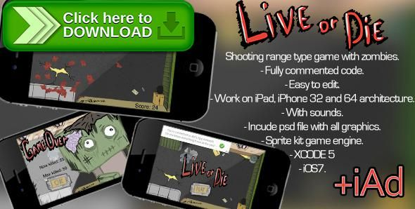 "[ThemeForest]Free nulled download Shooting Range Game ""Live Or Die"" +iAd from http://zippyfile.download/f.php?id=53396 Tags: ecommerce, apocalypses, apple, game, iad, iOS7, kit, range, shooter, sprite, Xcode, zombie"