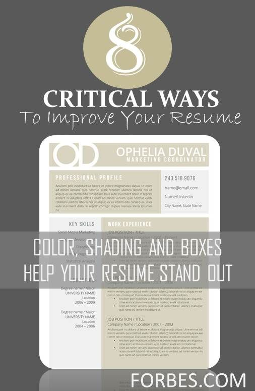 8 Critical Ways To Improve Your Resume  Forbes Resume Tips