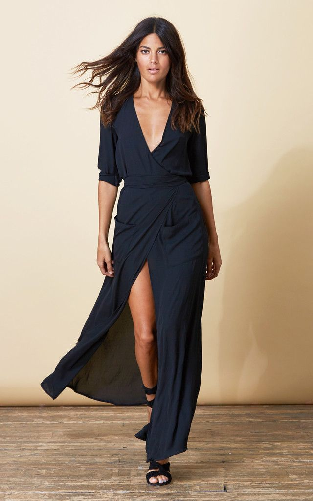 Long black maxi wrap dress in a lovely, flowing fabric. Full skirt with a high front slit, tie belt and deep pockets. Shop now. Clothing, Shoes & Jewelry : Dresses for Women, Girls & Baby Girls : Women http://amzn.to/2lyOcr6