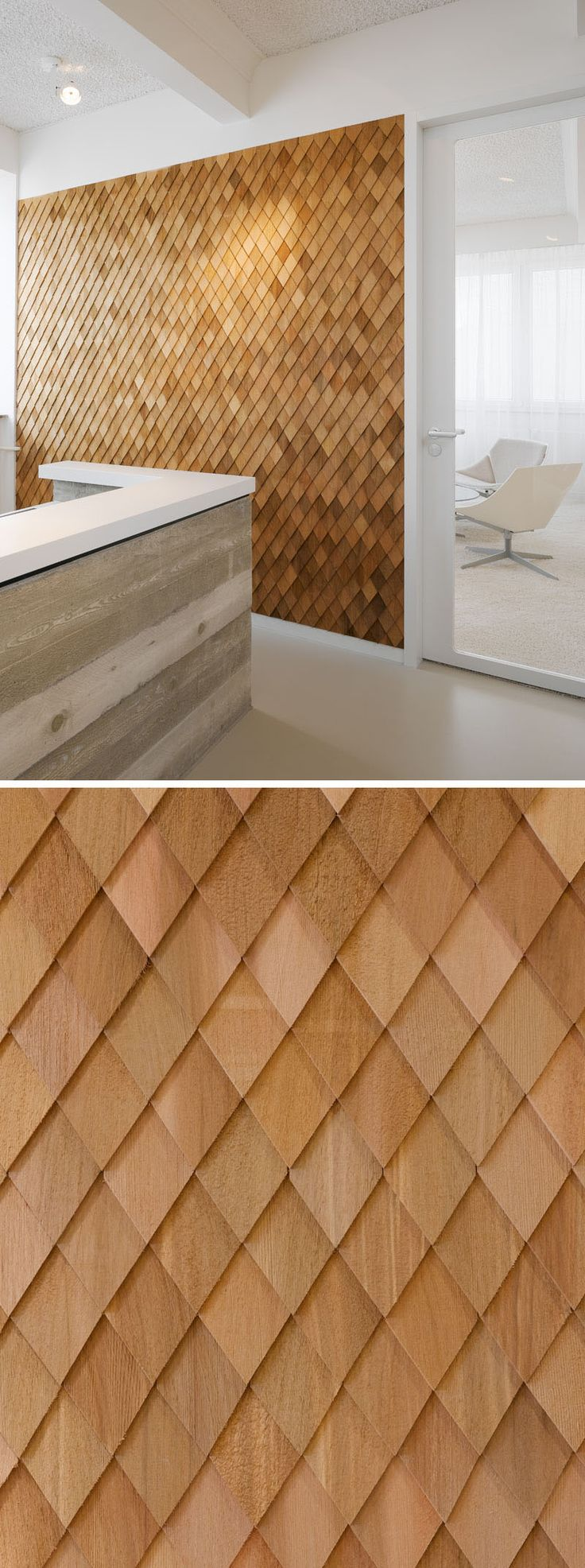 Interior Design Idea - In this contemporary office interior, the designers used wooden shingles on various wall panels to act as accent walls and to help create texture in the space.