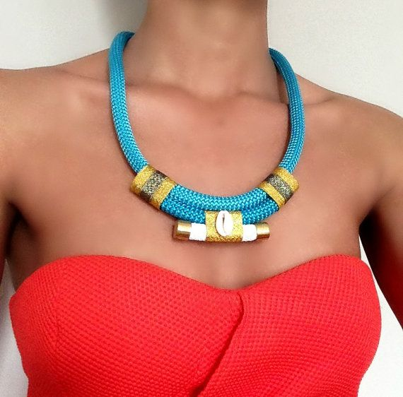 Necklace Blue Cowrie  Necklace for woman  by VChristinaCollection