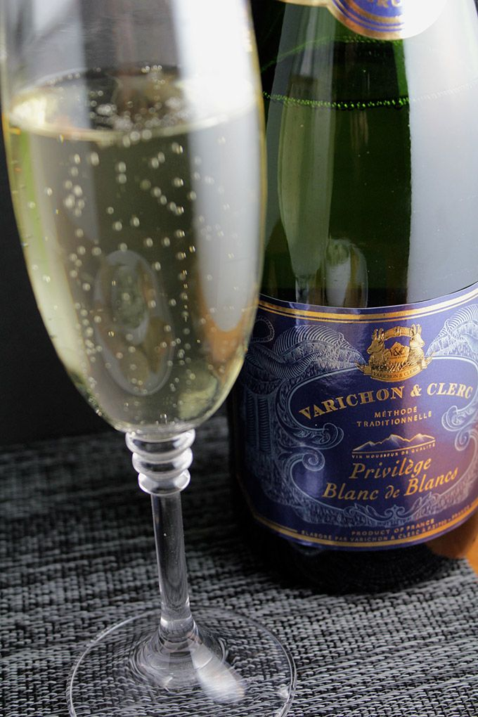 Get some French bubbly w/o the Champagne prices! This Varichon & Clerc Privilege Blanc de Blancs comes in around $15 and is clean & crisp. Pairs with with Cooking Chat's Bacon & Greens Dip (image links to that recipe and pairing notes). #wine