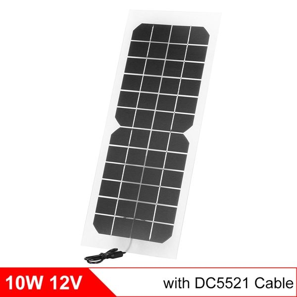 Monocrystalline Silicon 10w 12v Solar Panel With Dc 5521 Cable Semi Flexible Transparent 12v Solar Panel Charg Solar Panel Charger 12v Solar Panel Solar Panels