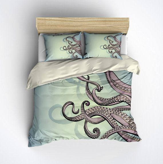 octopus bedding blue green and purple octopus printed on cream comforter cover