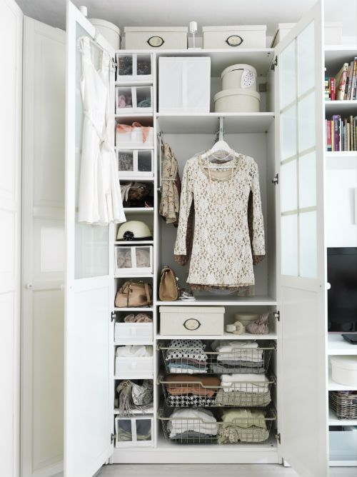 Try organizing your closet by setting it up in zones according to how you think about your clothing. When getting dressed, do you think first in terms of occasion, by clothing type, or by season? Create a closet section for each category and you'll always be ready to go!: Closet System, Walk In Closet, Closets, Wardrobes, Ikea Pax Wardrobe, Closet Ideas, Diy, Bedroom, Wardrobe Closet