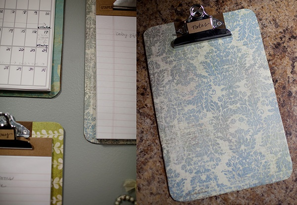 Clipboards hung on the wall to show off artwork, to-do lists, and homeschool assignments.