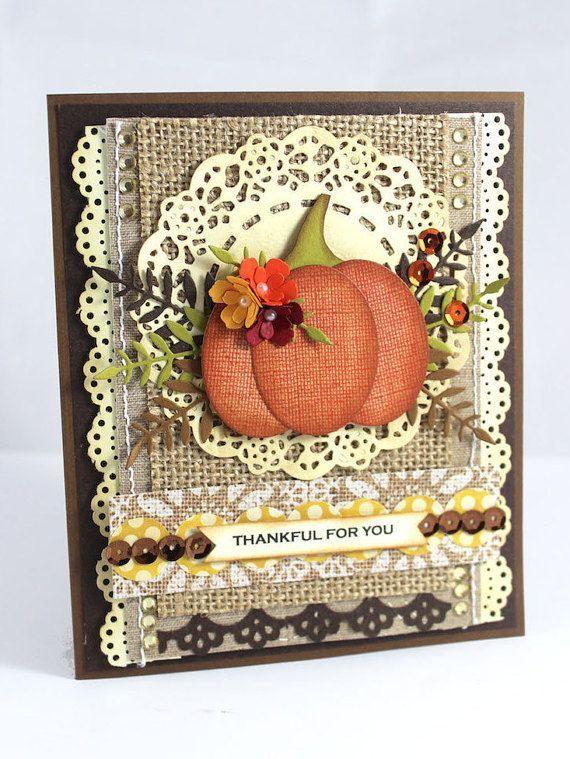 Pumpkin Handmade Card, Shabby Chic Card, Handmade Card, Thanksgiving Card…