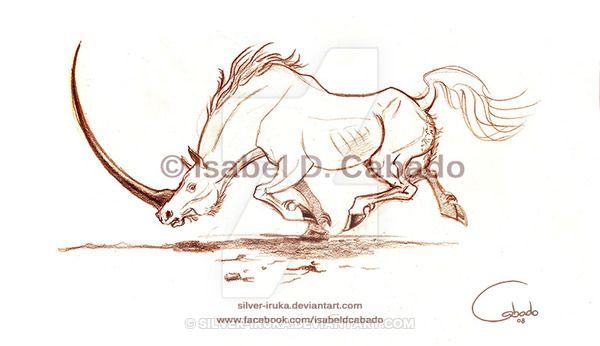 Unicorn sketch by Isabel D. Cabado http://silver-iruka.deviantart.com https://www.facebook.com/isabeldcabado