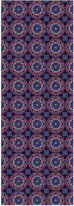 Crossed Floral Lace in Pink and Blue on Purple Yoga Mat by Terrella
