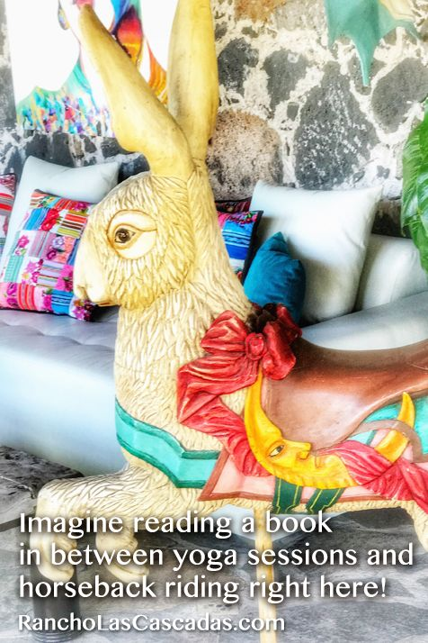 carousel rabbit, carved bunny, serene salon, rancho las cascadas, read a book