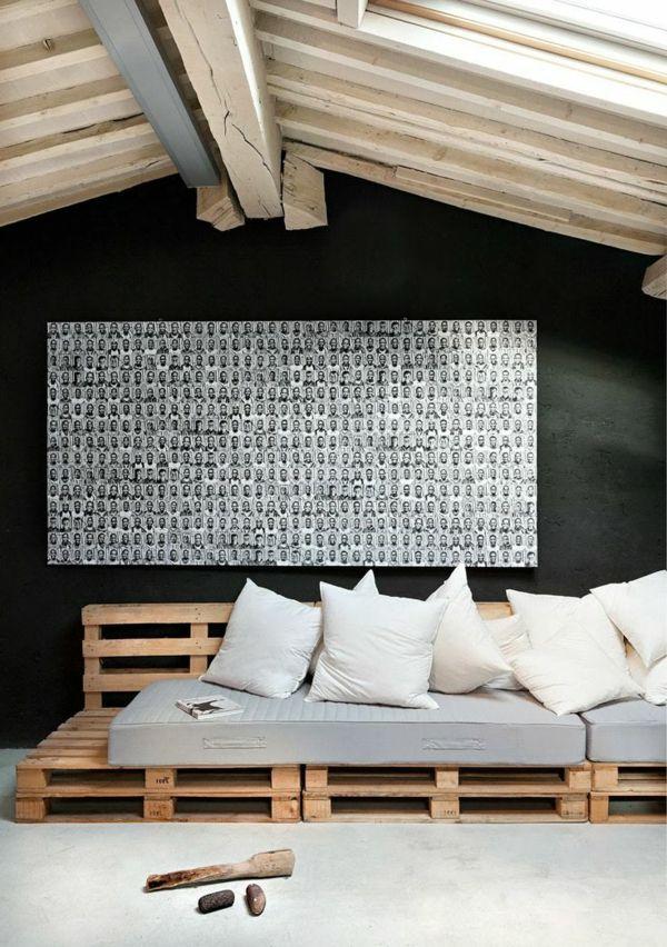 60 DIY Möbel aus Europaletten – erstaunliche Bastelideen für Sie - Möbel Europaletten schön kunst sofa