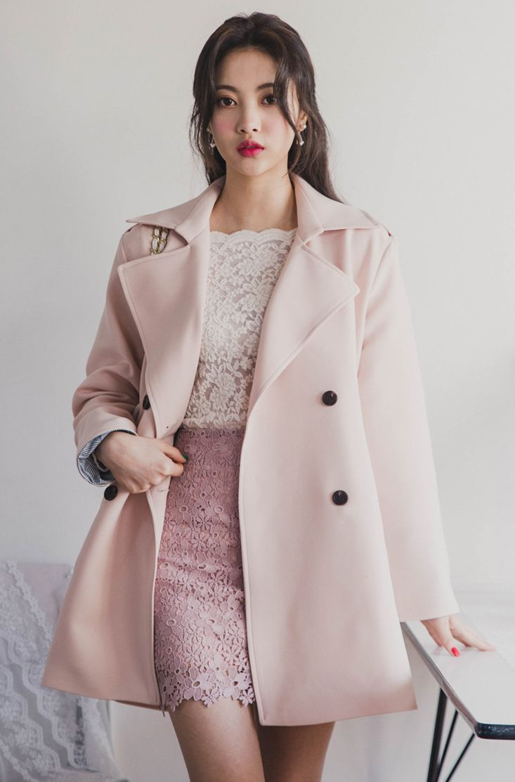 Check Accent Double-Breasted Coat CHLO.D.MANON   #pink #coat #cute #sweet #koreanfashion #kstyle #kfashion #springlook #seoul