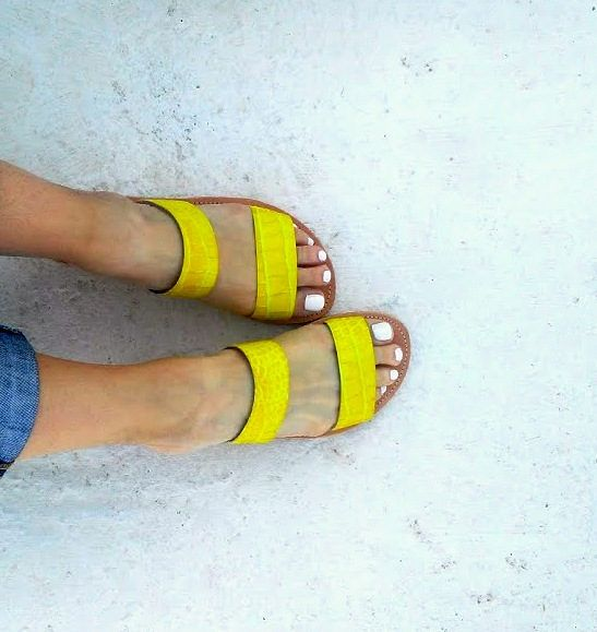 slippers yellow snake print/ two starps / aelia greek sandals/handmade/genuine leather/woman shoes by aeliasandals on Etsy