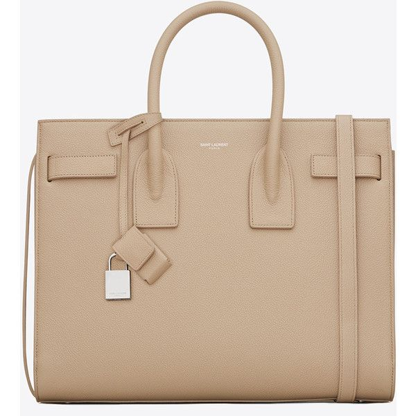 Saint Laurent Classic Small Sac De Jour Bag In Dark Beige Grained... ($2,750) ❤ liked on Polyvore