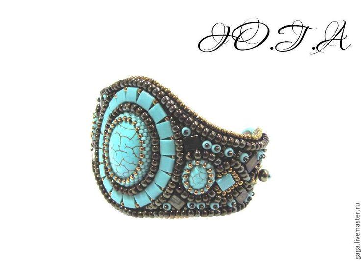 Купить Бирюзовый браслет - бирюзовый, коричневый, бронзовый, кулон, браслет, серьги, украшение, женское украшение