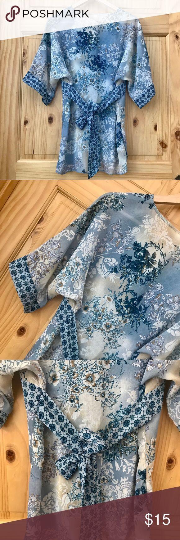 Faded Glory semi sheer tie back kimono tunic Sz M Faded Glory semi sheer floral …