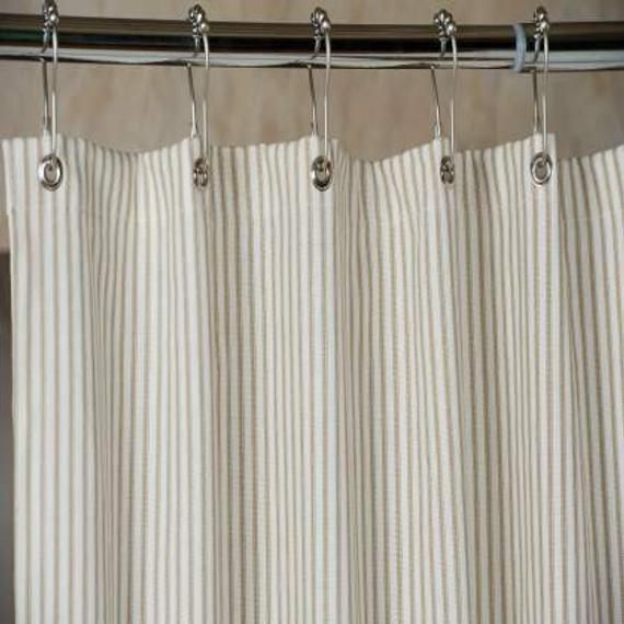 Our Brown Ticking Stripe Shower Curtain Is Made In The Usa And