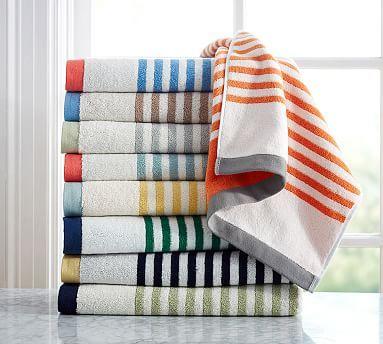 Marlo Stripe Organic 600-gram Weight Bath Towel #potterybarn