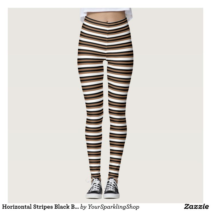 Horizontal Stripes Black Brown Striped Pattern  #leggings