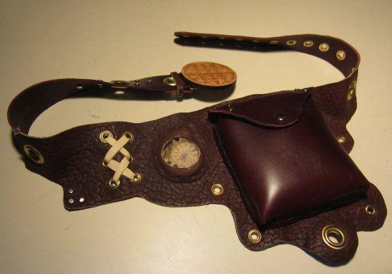 Hand Made Leather UTILITY BELT,FREE Shipping, w/Ammonite, Buffalo, Deer, Latigo, Laser Cut Wooden Sacred Geometry Buckle
