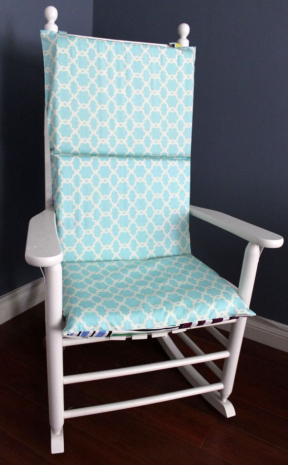 rocking chair cushion baby blue polka dot rocking chair cushions ...