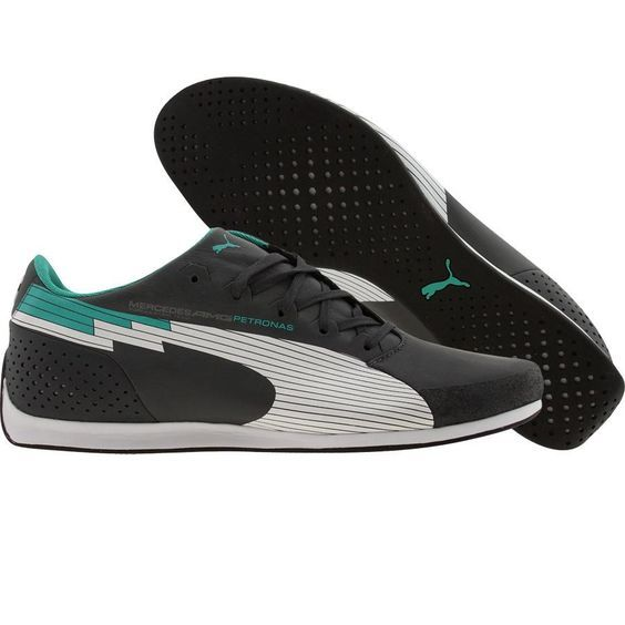 Puma Racing evoSPEED Low MAMGP - Mercedes Benz shoes in dark shadow, white, and arcadia