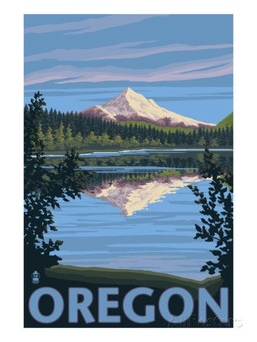 Mt. Hood from Lost Lake, Oregon Prints by Lantern Press at AllPosters.com