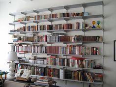 http://www.bebarang.com/creative-wall-mounted-bookshelf-ideas/ Creative Wall Mounted Bookshelf Ideas : Big White Metal Wall Mounted Bookshelves Design