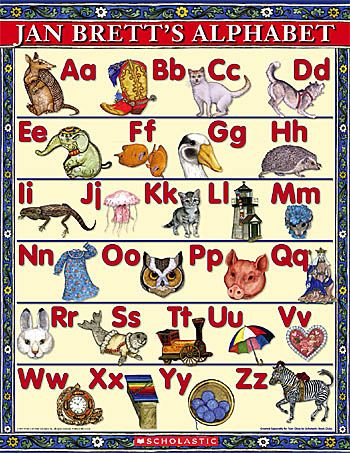 Jan Brett Alphabet Poster--print in four pieces.  Beautiful artwork!