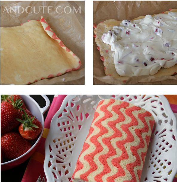Un gâteau roulé à motifs de chevrons...
